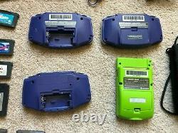 3x Nintendo Game Boy Advance & Color GBA Indigo Lot, case, 9 games + accessories