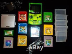 BACKLIT GB BOY COLOUR with 8 pokemon games + GBA SP AGS 001 link cable & charger