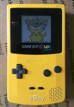 Backlit Yellow GameBoy Color -Freckle Shack-BennVenn Modded GBC Pokemon Yellow