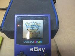 GAMEBOY COLOR PURPLE WithPOKEMON GAME BUNDLE YELLOW, RED, BLUE, GOLD, SILVER, CRYSTAL