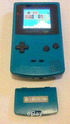 GameBoy Color Teal OEM Shell Funnyplaying IPS Backlight Mod + Glass Screen