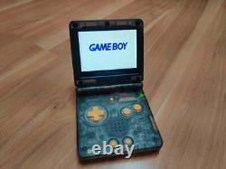 Gameboy Advance SP Transparent Black with yellow button Color AGS IPS Screen Mod