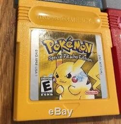 Gameboy Color With6 Genuine Pokemon Red Blue Yellow Gold Silver Crystal All Save T