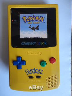 Modded AGS101 Nintendo Game Boy Color Pokémon Edition Yellow Handheld System