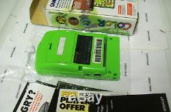 New Screen Nintendo Gameboy Color Kiwi Green Complete In Box