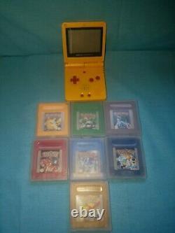 Nintendo Game Boy Advance GBA SP Pikachu Yellow Pokemon Games Bundle AGS 001