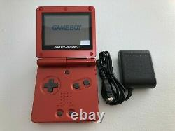 Nintendo Game Boy Advance SP Flame Red Custom Seller Refurbished with Charger