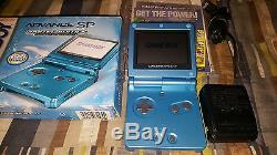 Nintendo Game Boy Advance SP Surf Blue Handheld System GBA Complete with Box CIB
