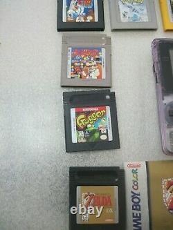 Nintendo Game Boy Color Atomic Purple Console With 6 Games Zelda DX Pokemon Silver