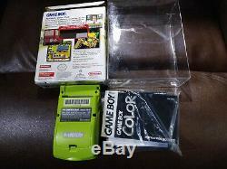 Nintendo Game Boy Color Kiwi Lime Green CIB NTSC USA VERSION i+ BONUS PROTECTOR