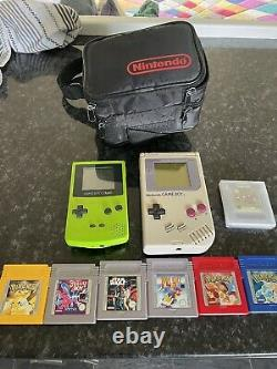 Nintendo Game Boy Handheld One Grey Console & Other Colour Console + Games