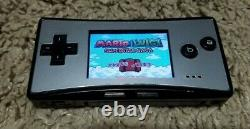 Nintendo Game Boy Micro-Silver & Black-TESTED & WORKING with Game & Charger