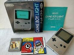 Nintendo Game boy Light Silver color console MGB-101, Manual, Boxed set-d0217