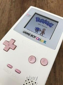 Nintendo GameBoy Color Colour Game Boy Handheld White Pink BACKLIT Console