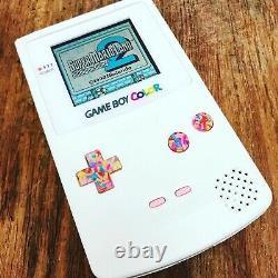Nintendo GameBoy Color Colour Game Boy Handheld White Pink BACKLIT Console IPS 2