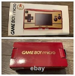 Nintendo GameBoy Micro 20th Anniversary Edition Famicom Color Used Tested Boxed