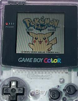 Nintendo Gameboy Color Atomic Clear Bundle /w AUTHENTIC Pokemon Yellow Red Blue