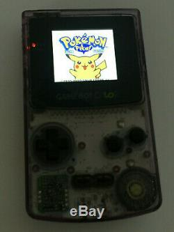 Nintendo Gameboy Color Clear Atomic Purple McWill Backlight & Glass Screen