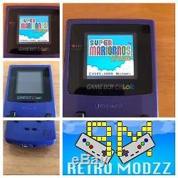Nintendo Gameboy Color GBC Colour Grape Console backlight MicroUSB Glass screen