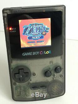 Nintendo Gameboy Color Light Backlight & Custom Glass Screen All Black Version
