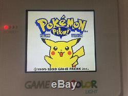 Nintendo Gameboy Color Light Backlight & Custom Glass Screen All White Version