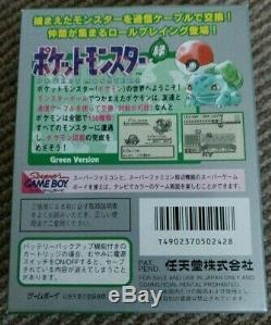 Nintendo Gameboy Color Pokemon Green Complete Boxed Japanese import A+ Map MINT