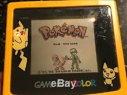Nintendo Gameboy Color Yellow Pikachu Console + 6 Pokemon Games Collection