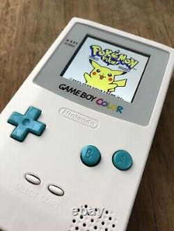 Nintendo Gameboy Colour Color White Teal Handheld Gaming Console BACKLIT IPS