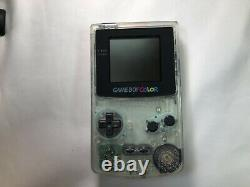 Nintendo Gameboy color console clear with 7 pokemon softs set GBC japan #0040C