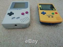 Original Game boy 1989 & Game boy colour Pikachu 2 gameboys plus case, games