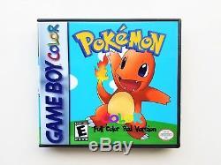 Pokemon Red Version FULL COLOR Custom Cart withCase (Nintendo Game Boy)
