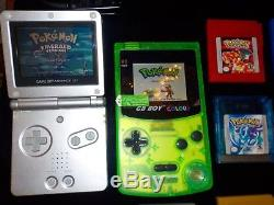 Backlit GB Boy Color Avec 8 Jeux Pokemon + Gba Sp Ags 001 Link Cable & Charger