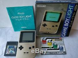 Console Couleur Nintendo Gameboy Light Gold Mgb-10 Boxed And Game Set / Testé-b511
