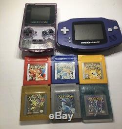 Game Boy Color Advance Avec Pokémon Rouge Jaune Bleu Argent Or Cristal Testée