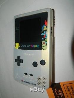 Game Boy Couleur Gold & Silver Pokemon Center Système Portatif Gbc Cib Complete