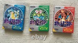 Gameboy Color Pokemon Vert Bleu Rouge Tous Les 3 De Cib Japonais Manuel Panier Boîte Rare