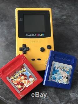 Jaune Nintendo Game Boy Color Avec Pokemon Jaune, Rouge, Bleu Version Pal