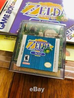Légende De Zelda Oracle Seasons + Ages Gameboy Color Nintendo 1ère Feuille Imprimée Menthe