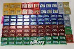 Lot De 100 Jeux Nintendo Gameboy Color + Advance Pokemon Authentiques Non Testés