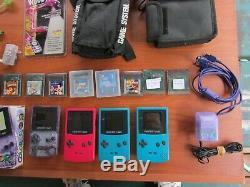 Lot Nintendo Énorme Game Boy Color Purple Atomique, Rouge, 2 Teal, 29 Jeux, Cas