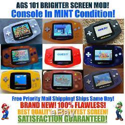 Nintendo Game Boy Advance Gba Ags 101 Brighter Mod Rétro-éclairé Mint Choisissez Une Couleur