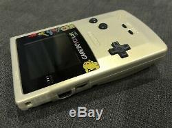Nintendo Game Boy Color Lumière Pokémon Or / Argent (ips Rétro-éclairage Mod)