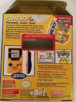 Nintendo Game Boy Color Système De Poche Pikachu Jaune Pokemon Jaune En Boîte Super Rare