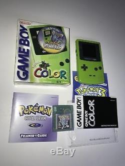 Nintendo Game Boy Couleur Kiwi Pokémon Crystal Bundle Complet In Box Authentic