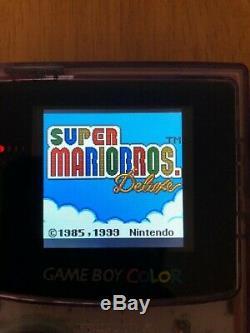 Nintendo Gameboy Color Gbc Color Atomic Rétro-éclairage Violet Écran En Verre Microusb