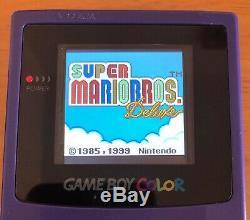 Nintendo Gameboy Color Gbc Couleur Raisin Contre-jour Console Écran En Verre Microusb