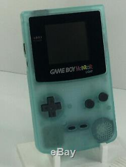 Nintendo Gameboy Color Horreur Lumière Rétro-éclairage Et Personnalisée En Verre Écran Phosphorescent Noir