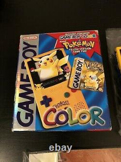 Nintendo Gameboy Color Pikachu Pokemon Jaune Édition 100% Complete In Box