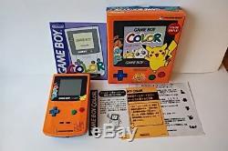 Nintendo Gameboy Color Pokemon Edition Limitée Console Couleur Orange, Boxed -a83